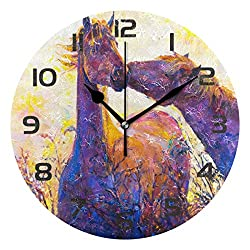 Dozili Animal Horse Oil Painting Decorative Wooden Round Wall Clock Arabic Numerals Design Non Ticking Wall Clock Large for Bedrooms, Living Room, Bathroom