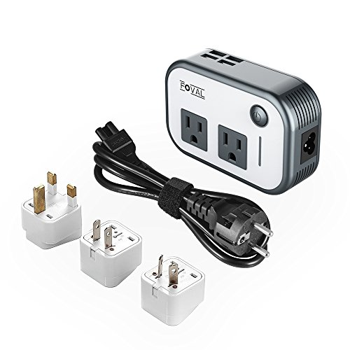 Foval Power Step Down 220V to 110V Voltage Converter with 4-Port USB International Travel Adapter for UK European Etc - [Use for US appliances (Multi Voltage Power Pack)