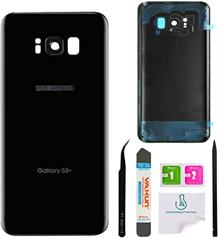 Custom Removal Tool /& Adhesive for Samsung Galaxy S8+ Plus OEM CELL4LESS Replacement Back Glass Cover Back Door w//Installed Camera Lens and Frame Black All Models G955