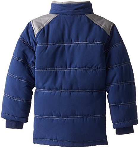 Pocket Pleather Jacket Boys' Navy Hooded Contrasting YMI with Bubble Little Tnqg0Fxw78