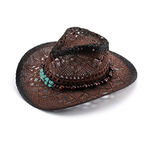 (JOOWEN Classic Straw Cowboy Cowgirl Hat Bendable Brim with Wooden Beads)