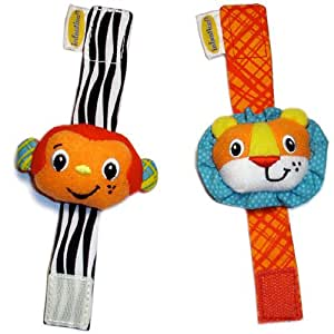 Infantino Wrist Rattles - Monkey / Lion