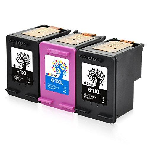 H&BO for HP 61XL Remanufactured Ink Cartridge High Yield for HP Envy 4500 5530 5534 Deskjet 1000 1512 2540 3050 3510 2510 Officejet 4630 2620 4632 (2 Black +1 Tri-color )