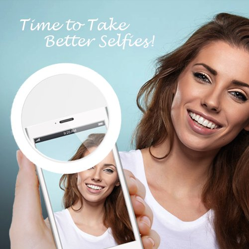 Auxiwa Clip on Selfie Ring Light [Rechargeable Battery] with 36 LED for Smart Phone Camera Round Shape, White by Auxiwa (Image #3)