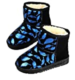 Cattior Toddler Little Kid Feather Pattern Fashion Waterproof Boots Kids Snow Boots Shoes (9.5 M, Blue)