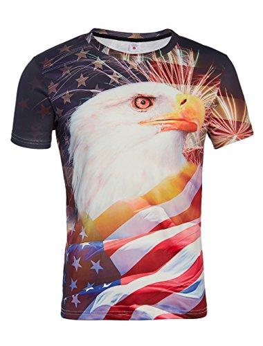 Loveternal Unisex 3d Patriotic American Flag Eagle Graphic Print T-Shirt Cool Summer Short Sleeve Casual T Shirts Tees For Women Men (Eagle Print Tee)