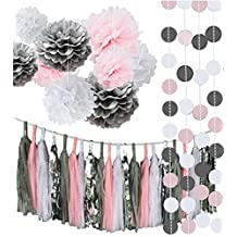 Fonder Mols 33pcs White Pink Gray Tissue Paper Flowers Pom Poms Circle Dots Garlands Party Tassel Banner for Wedding Party Baby Girl Room Nursery Decoration