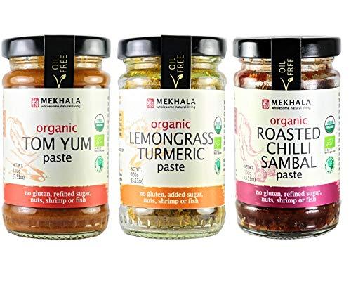 Mekhala Organic Gluten Free Asian Cooking Paste Value 3-Pack (3x3.5oz) (Mixed)