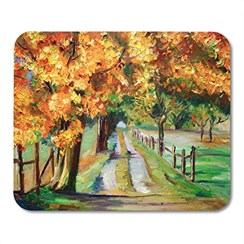 Desk Maple Country (Emvency Mouse Pads Watercolor Colorful Landscape Oil Painting Country Road Maple Red Mouse Pad for notebooks, Desktop Computers mats 16