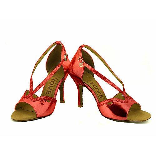 Q Performance T rossi Jazz ballo da Swing latini Sandali T Tango Indoor Salsa Rosso donne Practice professione delle Scarpe HpxTnqCw