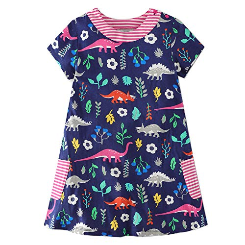 Frogwill Girls Green Dinosaur Tunic Short Sleeve Summer Casual Dress 2-7T (3T, Navy) from Frogwill