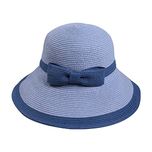 (Women Sun hat Summer Fisherman Protection Sun hat Folding Straw hat Travel Beach hat,Light Blue Blue)