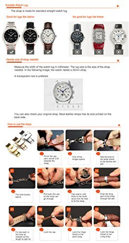 iStrap 20mm Calfskin Replacement Watch Band With Rose Gold Pin Buckle for Men Women - Brown by iStrap (Image #6)