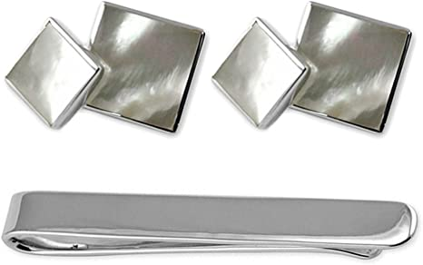 Sterling silver mother of pearl double-sided Cufflinks Tie Clip Box Set