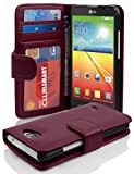 Cadorabo Book Case Works with LG L90 in Bordeaux Purple – with Magnetic Closure and 3 Card Slots – Wallet Etui Cover Pouch PU Leather Flip