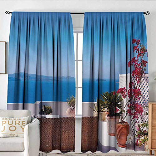 Aegean Weave Fish - Blackout Curtains for Bedroom Modern,View of Mediterranean Santorini Aegean Sea Seascape Holiday Artwork,Sky Blue Red and Pale Grey,Thermal Insulated Darkening Panels for Cafe Windows 84