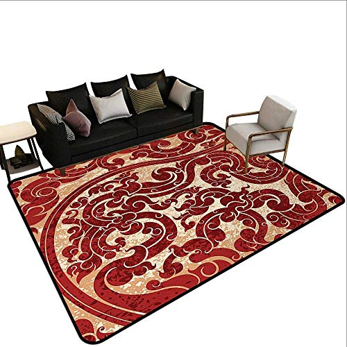- Modern Abstract Area Rug Antique,Thai Culture Vector Abstract Background Flower Pattern Wallpaper Design Artwork Print,Ruby,for Living Room Bedrooms Kids Nursery Home Decor 5'x 7'