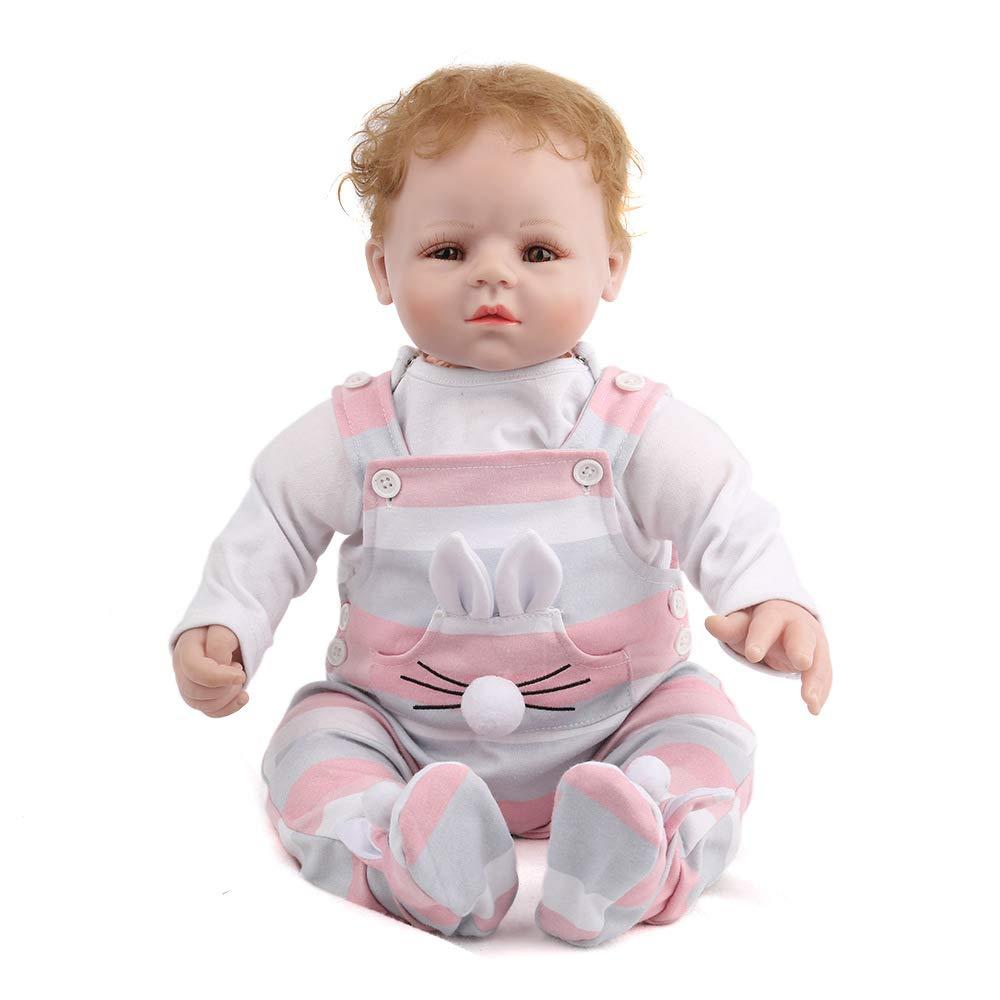 QWER Reborn Babypuppen Mädchen, Simulation Baby Tuch Körper Weich Und Schön Silikon Puppe Kinder Spielen Schlafbegleiter