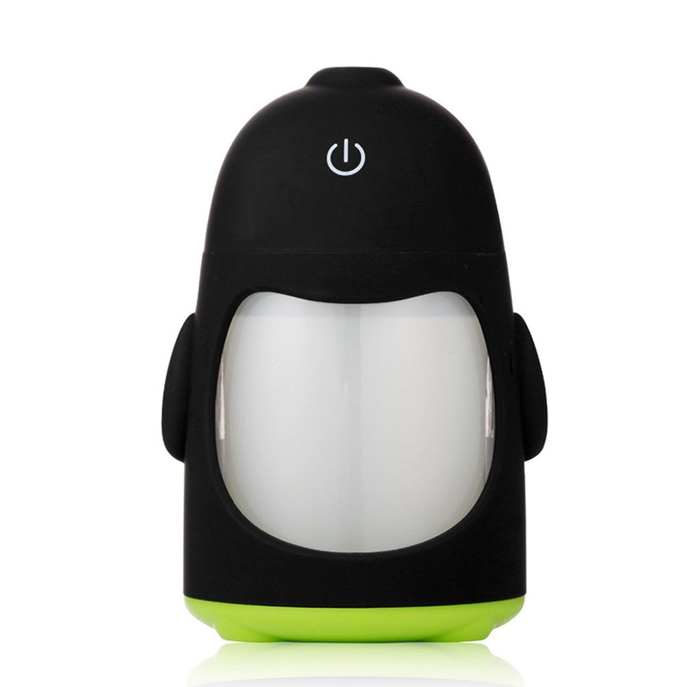 MollBii 150ml USB Penguin Creative Ultrasonic Cool Mist Humidifier Mini Portable USB Air Humidifier with 7 Changing LED Night Lights Aroma Diffuser for Office Desk/ Bedroom/ Travel/ Car (Green)