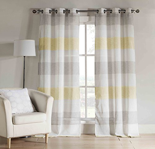 yellow gray window curtains - 8