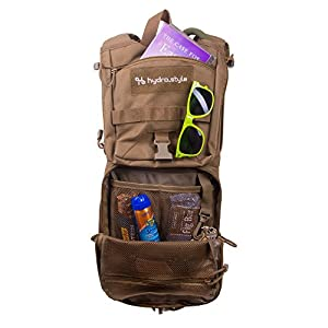 hydro.style Tactical Hydration Backpack / Pack with 3-Liter Water Reservoir Bladder & MOLLE System for Hiking, Biking, Running, Walking and Climbing (Tan)