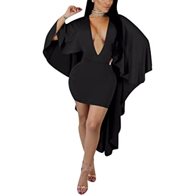 Kafiloe Womens Sexy Batwing Sleeve Cape Deep V Neck Party Bodycon