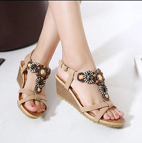 Khskx-the Beige 6cm Zapatos De Playa Con Tacones Altos Sandalias De La Pendiente Mujeres Summer Water Drilling Pin Grueso Con Cuentas Clips Zapatos Mujer Tide 38