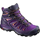 SALOMON Women's X Ultra 3 Mid GTX Boots Acai/Evening Blue/Living Coral 12