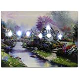 Canvas Art - Wall Art with LED Lights Canvas Print - Village Cottages Along a Stream - Old Fashioned Cobblestone Bridge - 12x16 Inch