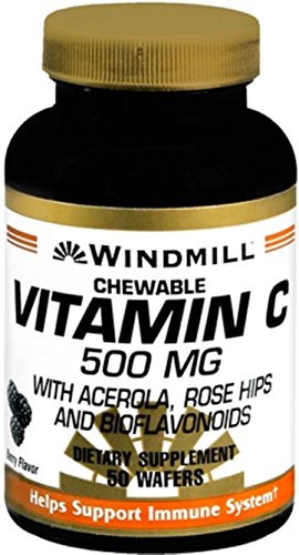 Windmill Vitamin C-500 Chewable Wafers 50 Tablets (Pack of 12) by Windmill