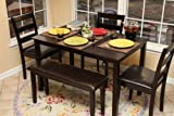 cheap dining table and chairs Home Life 5pc Dining Dinette Table Chairs & Bench Set Espresso Finish 150236