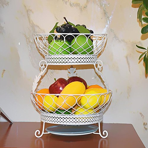 LXY Two-layer Hollow Metal Fruit Plate Durable And Not Easy To Fade Total Height 3629cm fruit ()