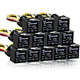 12 PACK 5 PIN SPDT Automotive Waterproof Relay Set Heavy Duty 40/30 AMP 24V DC Wiring Harness Set Relays w/ Interlocking Block Socket Holder + 12 Gauge Pigtails AWG Wire Harness