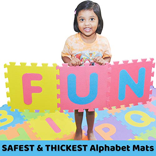 SAFEST Non Toxic Alphabet Puzzle Mat | THICKEST ABC + Numbers 0 to 9 Flooring Mat | Bonus Fun Learning eBook | Reusable Carry Bag | Kids Learn & Play with Interlocking Puzzle Pieces | Eva Foam (Alphabet Mat Foam Puzzle Floor)