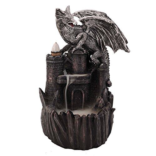 woobud Dragon Castle Incense Holder & Burner Combo Statue for Cones with Decorative Display Stand As Gothic Home Decor Aromatherapy Sculptures and Medieval Fantasy Gifts + 10 (Burner Statue)