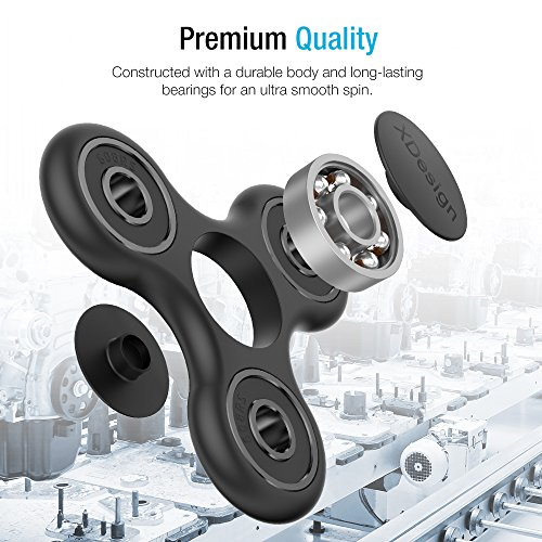 XDesign Fidget Spinner Figit Spinner Toy Finger Spinner Focus Spinner Stress Reducer for [Premium Bearing] Easy Flick and Spin Kids and Adult Hands Toys Perfect for Stress Relieve (XD000026)