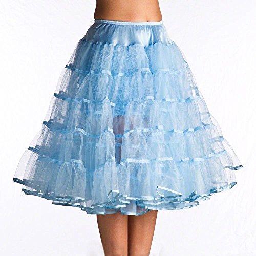 Dobelove Vintage 50s Tea Length Tutu Petticoat Crinoline Slip (S-M, Light Blue)