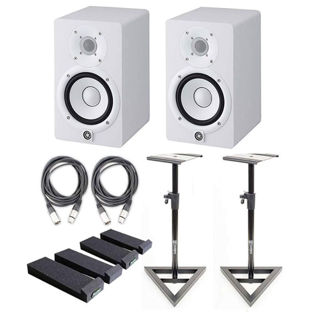 Yamaha HS5 White 5-Inch Powered Studio Monitors (Pair) w/Monitor Stands Mopads and 20ft XLR Cables