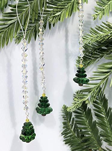Christmas Tree Ornaments, Christmas Decoration, Tree Ornament, Holiday Ornament, Swarovski Crystals, Aurora Borealis, Green Ornament, 9086