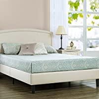 Zinus Upholstered Arched Platform Bed with Wooden Slat Support, Twin