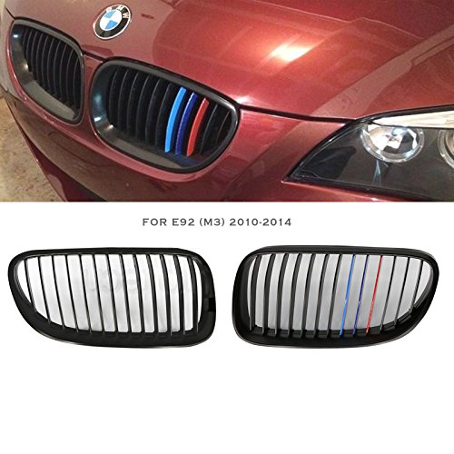 Syneticusa Matte Black Front Kidney Grille Grill 2pcs 2011 2012 ///M Color for 2010-2013 E92 3-Series 2 Door -