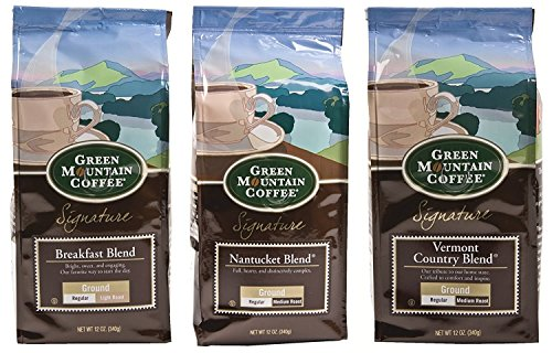 - Green Mountain Coffee Bundle 3 Count - One 12 Ounce Breakfast Blend Ground, One 12 Ounce Nantucket Blend Ground, and One 12 Ounce Vermont Country Blend Ground