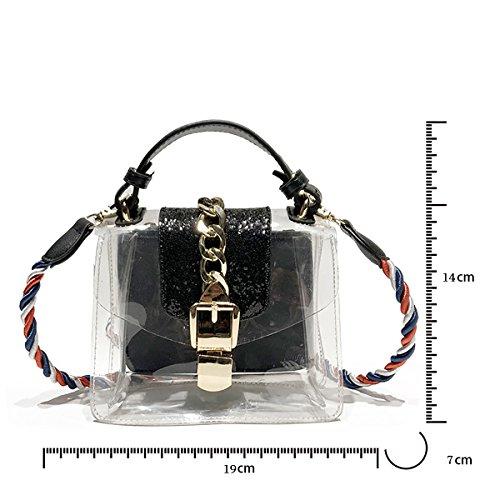 Tisdaini Bolso de hombro de las mujeres bolso crossbody mini bolso de plástico transparente de verano para niñas negro Negro