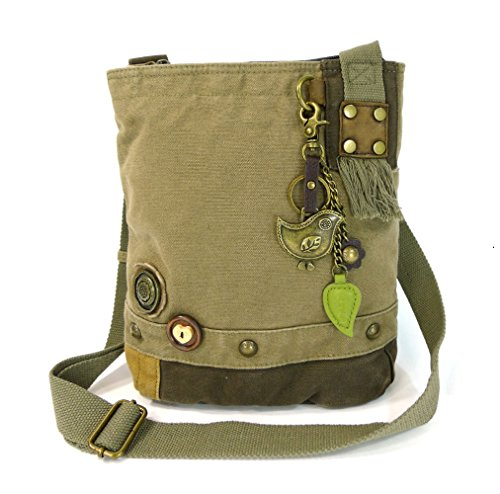 Chala Patch Cross-Body Women Handbag, Canvas Messenger Bag (Metal Bird Olive)