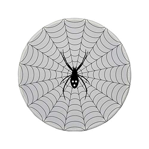 Non-Slip Rubber Round Mouse Pad,Spider Web,Poisonous Bug Venom Thread Circular Cobweb Arachnid Cartoon Halloween Icon Decorative,Black White,11.8