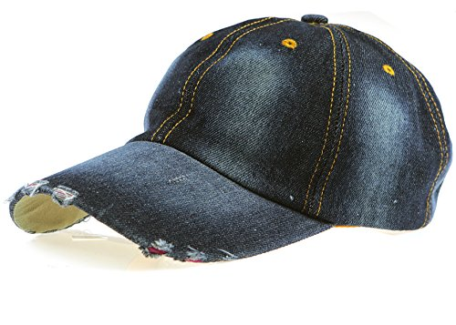 Black Eagles 100% Cotton and Denim Washed Classic Dad Hat Plain Dyed Low Profile Baseball Cap(Dark-Jean (Jeans Hat)