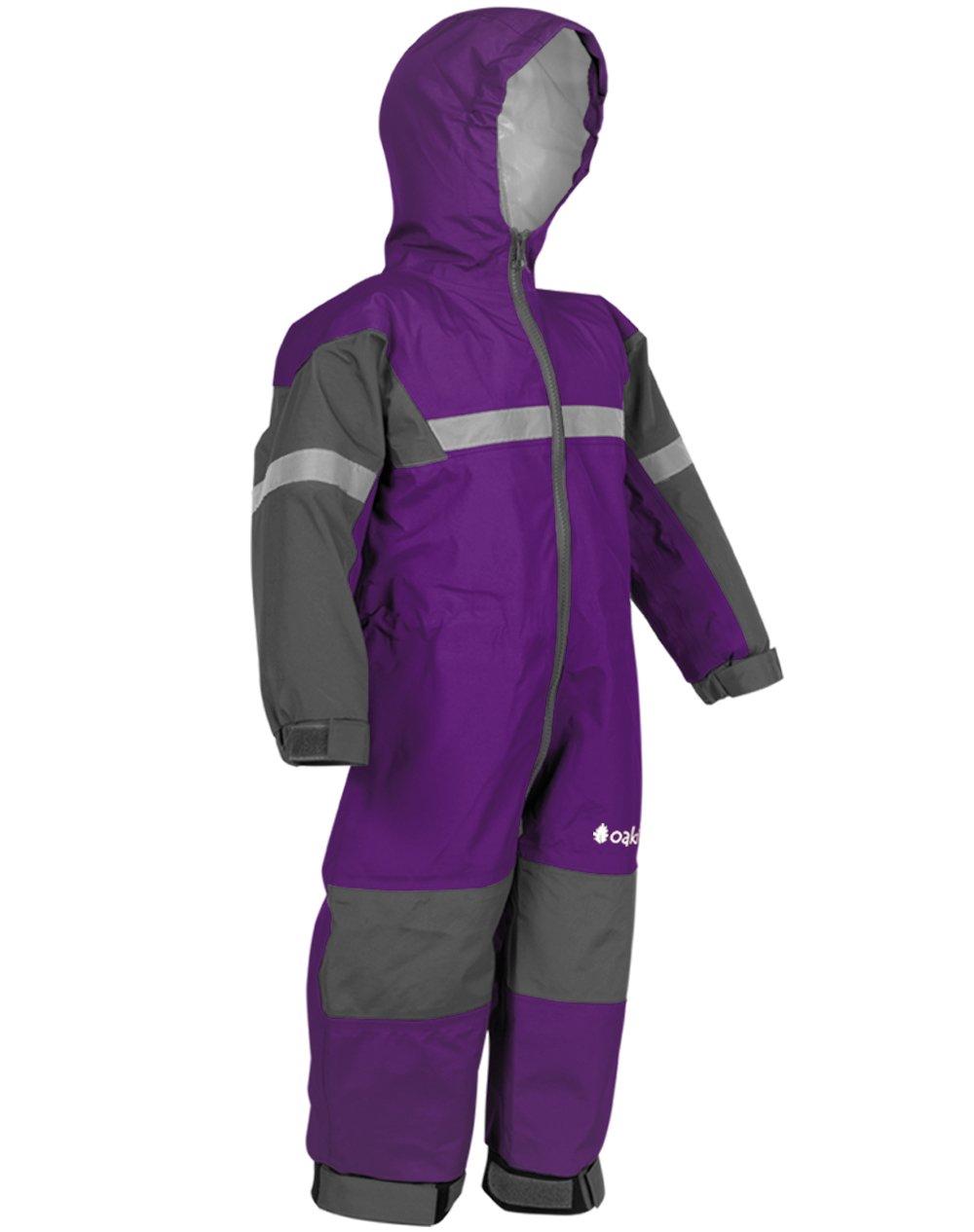 Oakiwear Kids One-Piece Waterproof Trail Rain Suit, Deep Purple, 12 Month