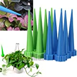 Starworld - Lot of 24 pcs Plastic Get straight to the root fast grow Automatic garden Cone Watering Spike Bottle Tips watering Flower Waterers Bottle Irrigation System Green,Blue color