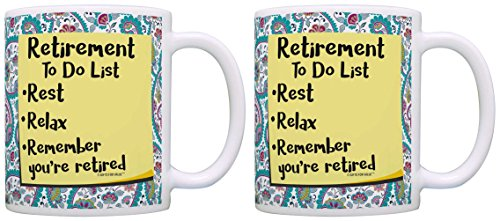 Retirement Pary Supplies Retirement To Do List 2 Pack Gift Coffee Mugs Tea Cups Paisley