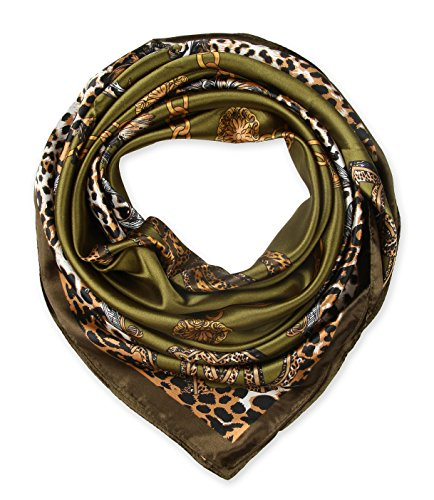 corciova Women's silk Like scarf for hair wrapping headwrap 35 x 35 inches Leopard Chain Olive - Headwrap Olive